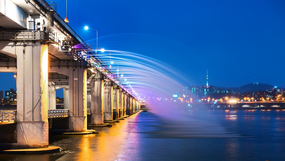 banpo bridge on han river on school trip in south korea